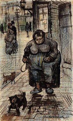 Woman Walking Her Dog, 1886 by Vincent van Gogh. Post-Impressionism. sketch and study. Van Gogh Museum, Amsterdam, Netherlands