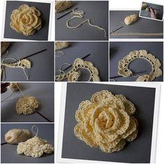 D.I.Y. crochet flower, crochet pattern - thanks, @Kathryn Whiteside Whiteside Whiteside Whiteside Whiteside Whiteside Dudley