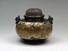 Antique Japanese Satsuma Ceramic Koro Incense Burner