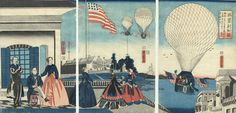 America: Balloon Ascension, 1867 by Yoshitora (active circa 1840 - 1880); Japanese woodblock print  This #incredible print depicts a balloon ascension in America, as imagined by the Japanese artist #Yoshitora in 1867. Never having visited the #UnitedStates, he used parts of #European prints as #inspiration in creating his #unusual #cityscape.  #japan #art #japaneseart #beautiful #scenic #scenery #woodblockprint #japanesewoodblockprint #balloon #america #vintage #hotairballoon #victorian