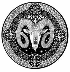 "Title: ""Aries"" // Mandala Art by Oksana Stepanova Mandala Artwork, Mandala Drawing, Mandala Design, Geometric Shapes, Pencil Drawings, Line Art, Coloring Pages, Design Art, Zodiac"