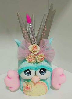 Pencil Holder, Pen Holders, Polymer Clay Projects, Clay Crafts, Clay Jar, Pot A Crayon, Magic Hands, Pots, Pasta Flexible