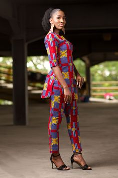 African Inspired Fashion, African Fashion Dresses, African Tops For Women, Ankara Skirt, Print Fabrics, Long Sleeve Tunic, Tunic Tops, Plus Size, Style Inspiration