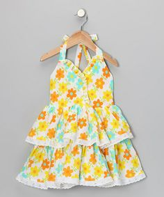 Take a look at this Bright Yellow  Turquoise Floral Halter Dress - Toddler  Girls by Lele for Kids on #zulily today!