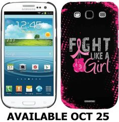 Our Fight Like a Girl #Samsung #Galaxy S3 thin shield cases look great and are perfect for sharing #breast #cancer #awareness and claiming your Power on the go!