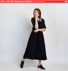 Happy Easter Sale * Placket Eyelet maxi dress,black.