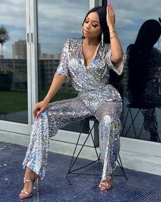 Image may contain: 1 person, standing, shoes and outdoor Black Girl Swag, Black Girl Fashion, High Fashion, Black Girls, Sexy Outfits, Fashion Outfits, Casual Outfits, Icy Girl, Sequin Outfit