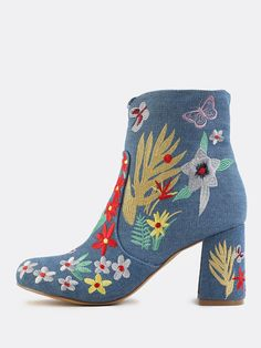 Online shopping for Denim Embroidered Booties BLUE DENIM from a great selection of women's fashion clothing & more at MakeMeChic.COM.