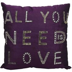 Mina Victory ''All You Need Is Love'' Throw Pillow (96 CAD) ❤ liked on Polyvore featuring home, home decor, throw pillows, purple, purple home accessories, purple throw pillows, purple home decor, purple toss pillows and beaded throw pillows