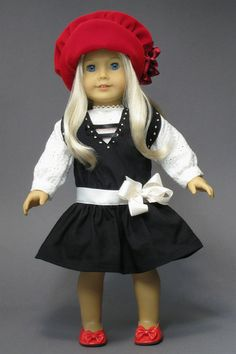 "PARTY DRESS and VELVET HAT for AMERICAN GIRL DOLLS ♦ Vintage patterns from ""The Mary Frances Sewing Book 100th Anniversary Edition"" from Classic Bookwrights.  http://amazon.com/dp/1937564010/"