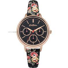 Ladies Cath Kidston Kingswood Rose Charcoal Strap Multifunction Watch CKL003BRG