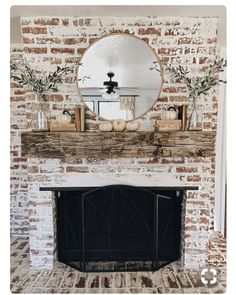 Try one of these 35 gorgeous natural brick fireplace ideas to complete your modern farmhouse or chic oceanfront / indoor living spaces on the coast. German Schmear- and White-Washed-Brick-Tutorials included. Refresh your tired, outdated fireplace Farmhouse Fireplace, Home Fireplace, Fireplace Design, Fireplace Ideas, Rustic Mantle, White Wash Brick Fireplace, White Wash Brick Exterior, Fireplace Whitewash, Mantle Ideas