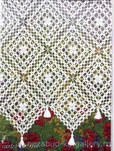 Gallery.ru / Фото #118 - 4 - nezabud-ka Crochet Curtains, Crochet Curtain Pattern, Lace Curtains, Shabby Chic Curtains, Crochet Patterns, Curtain Patterns, Filet Crochet, Crochet Lace Edging, Crochet Cross