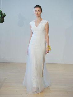 Carol Hannah Fall 2017 Phlox wedding dress with asymmetrical 4 ply silk crepe column with inlaid organza drape and architectural seaming