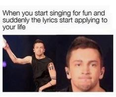 when you start singing for fun and suddenly the lyrics start applying to your life Top Memes, Funny Memes, Jokes, Hilarious, It's Funny, Funny Shit, Funny Quotes, Band Memes, Tyler Joseph