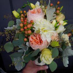 #BridalBouquet by #LiliesWhite #JulietGardenRoses, #dahlia, #dustymiller, #hypericumberries, #freesia