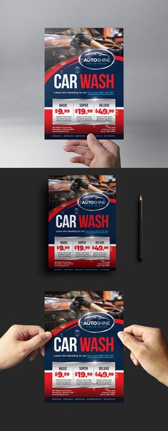 Free Car Wash Flyer Template for Photoshop & Illustrator. #adobephotoshop #adobeillustrator #Photoshop #Illustrator #PSD #Ai #BrandPacks
