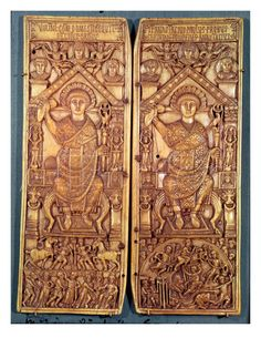 IVORY CARVING:  Diptych of Anastasius, consul in 517. In Late Antiquity a consular diptych was a particular type of diptych (a pair of linked panels, generally in ivory, wood or metal and decorated with rich sculpted decoration) which could function as a writing tablet but was also intended as a deluxe commemorative object, commissioned by a consul ordinarius and then distributed to reward those who had supported his candidature as rewards and to mark his entry to that post.