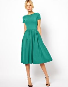 Enlarge ASOS Midi Skater Dress With Short Sleeves