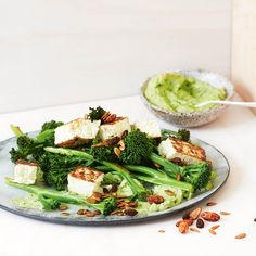 Warm Broccolini & Paneer Salad With Green Goddess Sauce
