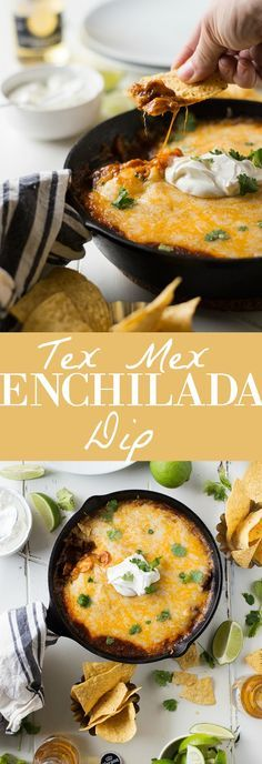 A warmtex mex enchilada dip loaded with ground beef, tons of melty gooey cheese and of course the tex mex chili gravy enchilada sauce.