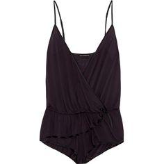 Kiki de Montparnasse Intime wrap-effect modal-blend jersey bodysuit (€375) ❤ liked on Polyvore featuring intimates, shapewear, bodysuits, lingerie, tops, pajamas and dark purple