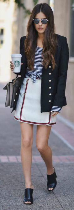 classic nautical look + Paola Alberti + striped top + navy military jacket + mini skirt + braiding + gold buttons + pair of heeled mules.  Military Blazer + skirt: Storets + Mules: Saks + Sunglasses: Vintage