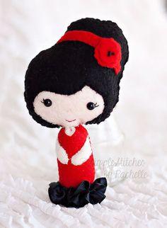 Custom Made Spanish Girl Felt Doll Handmade by StitchesByRachelle, $15.00
