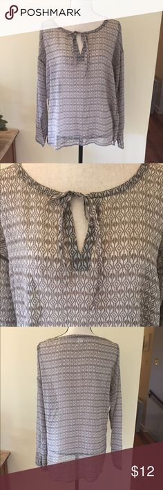 Pretty boho Old Navy blouse cream and brown Boho blouse from Old Navy, sheer with brown / tan designs on cream background. EUC! Old Navy Tops Blouses