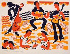 Music on the beach - Stencilprint