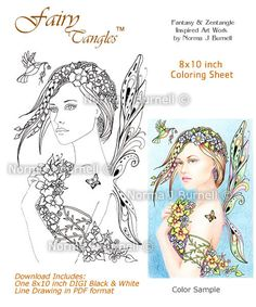 Posy Fairy Tangles Coloring Sheet Coloring Page by Norma J Burnell Fairies