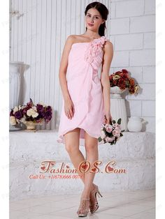 Pink Empire One Shoulder Short Prom / Homecoming Dress Chiffon Hand Made Flowers Mini-length- $84.58http://www.fashionos.com  http://www.facebook.com/quinceaneradress.fashionos.us  Sexy ruched bodice with lined flowers adorned with single shoulder with a few rose flowers flutter down to a soft layered skirt that has a mid thigh length in the front and cascades around to knee length in the back.