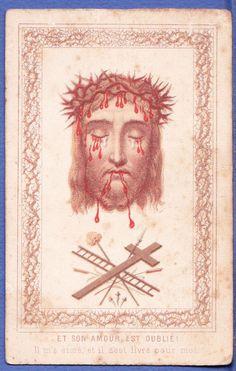Image pieuse  XIXème,La Sainte Face,Instruments de la Passion, holy card