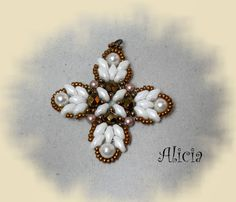 Beaded Cross white and bronze inspiration = Bisuteria Alicia: also matching bracelet