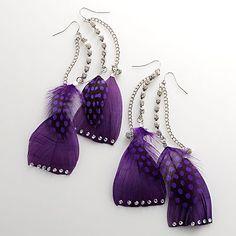 Crystal& Dot Feather Linear Drop Earrings