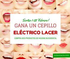 Ven a nuestra farmacia y por la compra de dos productos de higiene bucodental entra en el sorteo de un cepillo eléctrico Lacer. Hasta el 28 de febrero de 2015! www,mtfarmacia.com