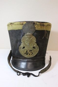 40a2e377a4a French 43 infantry regiment shako w  royal crest   Lot 195