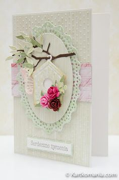handmade card ... clean shabby chic style .. pale green ... dimensional flowers ... die cut branch with leaves ... bird house ...