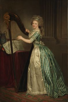 A 1791 self portrait by Rose-Adélaïde Ducreux shows the artist in an gorgeous striped gown.