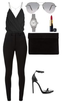 A fashion look from January 2016 featuring Victoria Beckham pants, Yves Saint Laurent sandals and Rolex watches. Browse and shop related looks. Night Outfits, Classy Outfits, Stylish Outfits, Look Fashion, Fashion Outfits, Womens Fashion, Fashion Tips, Fashion Pants, 90s Fashion