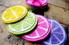 Citrus Fruit Felt Coasters  Set of 4 by JenDomLittleOldMum on Etsy, £8.00