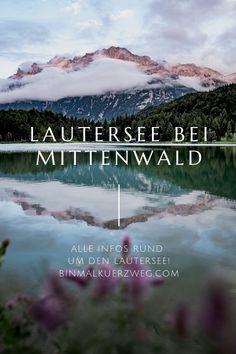 Einer der schönsten Bergseen in Bayern ist der Lautersee in Mittenwald, der wirklich alles hat, was man sich so wünscht! Egal ob Badeurlaub, Fotografieren oder Wandern. Das alles lässt sich herrlich am Lautersee verbinden! #Wandern #Bayern #Bergsee #Berge