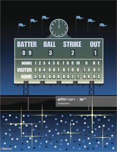A Vintage Baseball Scoreboard In A Stadium Illustration , Baseball Scoreboard, Baseball Field, Design Tutorials, Ads, Illustration, Vintage, Illustrations, Vintage Comics