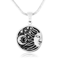 "Chuvora .925 Sterling Silver Crescent Moon, Sun and Star w/ Black Enamel Round Pendnat with Rhodium Snake Chain Necklace w/ Lobster clasp 18"" Chuvora, http://www.amazon.com/dp/B009JU5V2E/ref=cm_sw_r_pi_dp_IVAbrb1AG3QMR"