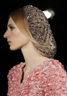 This is a crocheted hair net in the Chanel 2012 show. This closely resembles the snood we see in the Crinoline Period. The modernization of one of the most common hair accessories of that time. It resembles it beautifully! Couture Mode, Style Couture, Couture Fashion, Fashion Show, Fashion Design, London Fashion, Runway Fashion, Chanel Couture, Couture Makeup