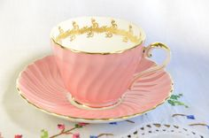 Pink Aynsley fluted tea cup and saucer, molded tea cup, vintage aynsley by VieuxCharmes on Etsy https://www.etsy.com/listing/474911146/pink-aynsley-fluted-tea-cup-and-saucer