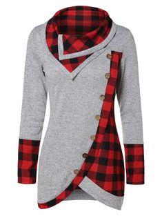 Turtleneck Tartan Tunic Sweatshirt - Gray Goose - - Women's Clothing Source by ogsenporalpilane clothes Mode Abaya, Mode Hijab, Grey Sweatshirt, Pattern Fashion, Blouse Designs, Tartan, Cute Outfits, Casual Outfits, Fashion Dresses
