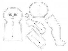 Resultado de imagem para molde de boneca de pano passo a passo para imprimir