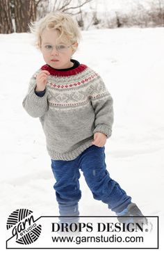 Narvik - Knitted children's jumper in DROPS Karisma. The piece is worked top down with round yoke and Nordic pattern on yoke. - Free pattern by DROPS Design Baby Knitting Patterns, Baby Sweater Knitting Pattern, Knitting For Kids, Free Knitting, Narvik, Drops Design, Nordic Pattern, Pull Jacquard, Icelandic Sweaters