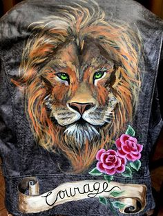 Hand Painted Leather Moto Jacket  Lion Courage Aslan